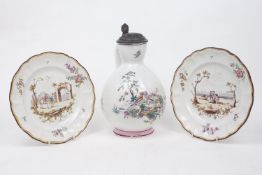 A pair of French faience cabinet plates, late 18th Century, by Veuve Perrin, each of circular