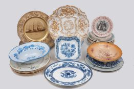 A selection of continental ceramic wares, late 19th Century and later, to include: a Meissen
