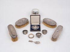 A small group of silver and silver plated items comprising: a silver mounted glass vanity jar,