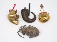 A group of four of Indian brass vessels, 20th century, to include: a shell form purse, with hinged