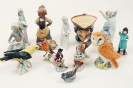 A selection of collectible ceramics, 19th century and later, to include: a pair of Sitzendorf