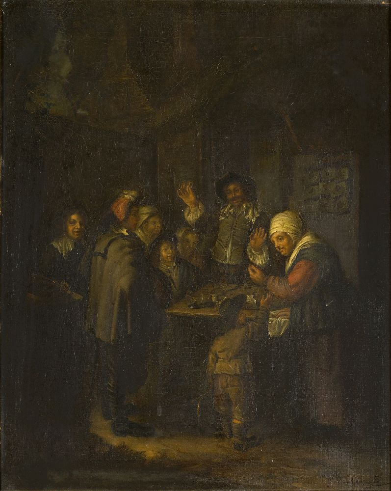 Giulia Cheli Capella, Italian 1875-1919- Il Ciarlatano, after Frans van Mieris the Elder; oil on