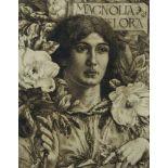 George Woolliscroft Rhead RE, British 1854-1920- Magnolia Grandiflora; engraving, bears