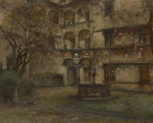 Vittorio Cavalleri, Italian 1860-1938- View of a courtyard; oil on canvas, signed and dated 08,