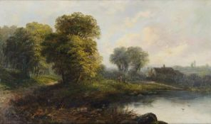 British School, late 19th/early 20th century- Woodland landscape with cottages and distant