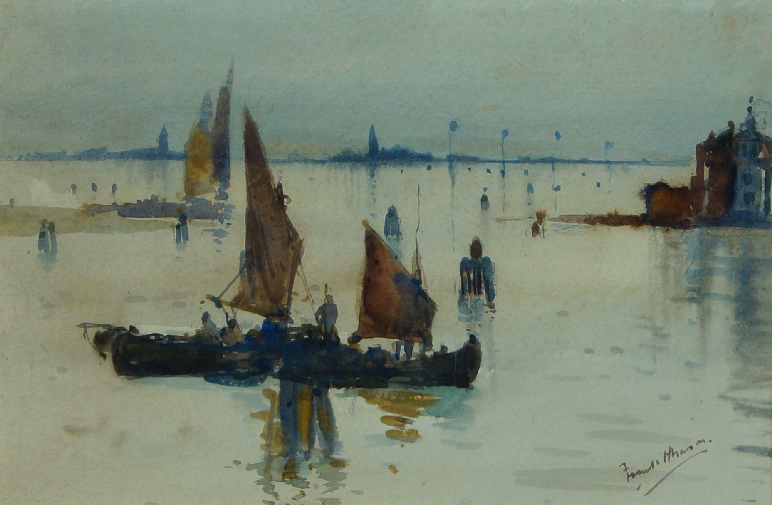 Frank Henry Mason RBA RI RSMA, British 1875-1965- Venetian scenes; watercolours, a pair, both - Image 2 of 2