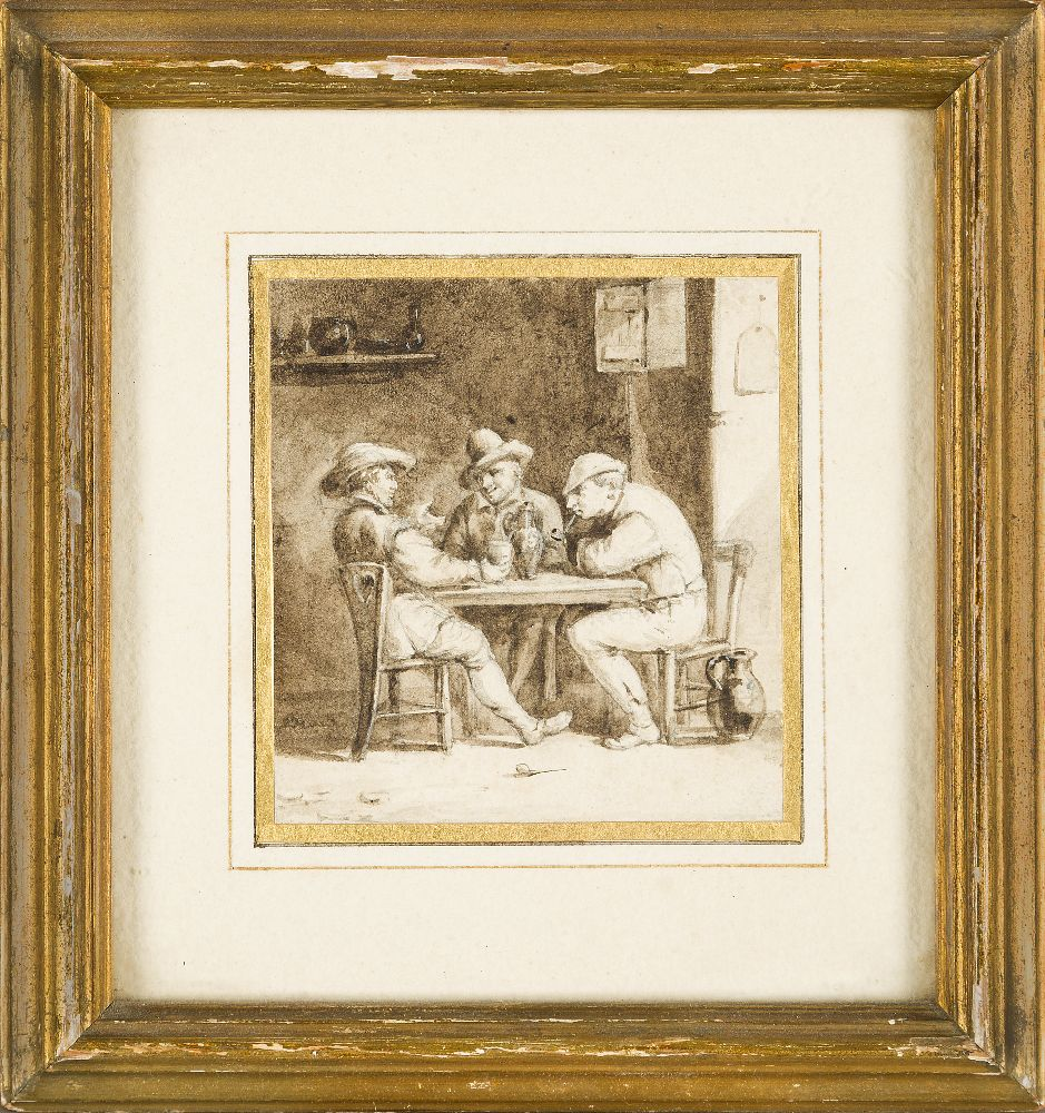 Manner of Adriaen Brouwer, late 17th/early18th century- Men seated at a table in a tavern; pen and - Image 2 of 3