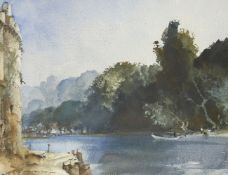 Sir William Russell-Flint RA RSW PRWS, Scottish 1880-1969- On the Loing at Moret; watercolour,