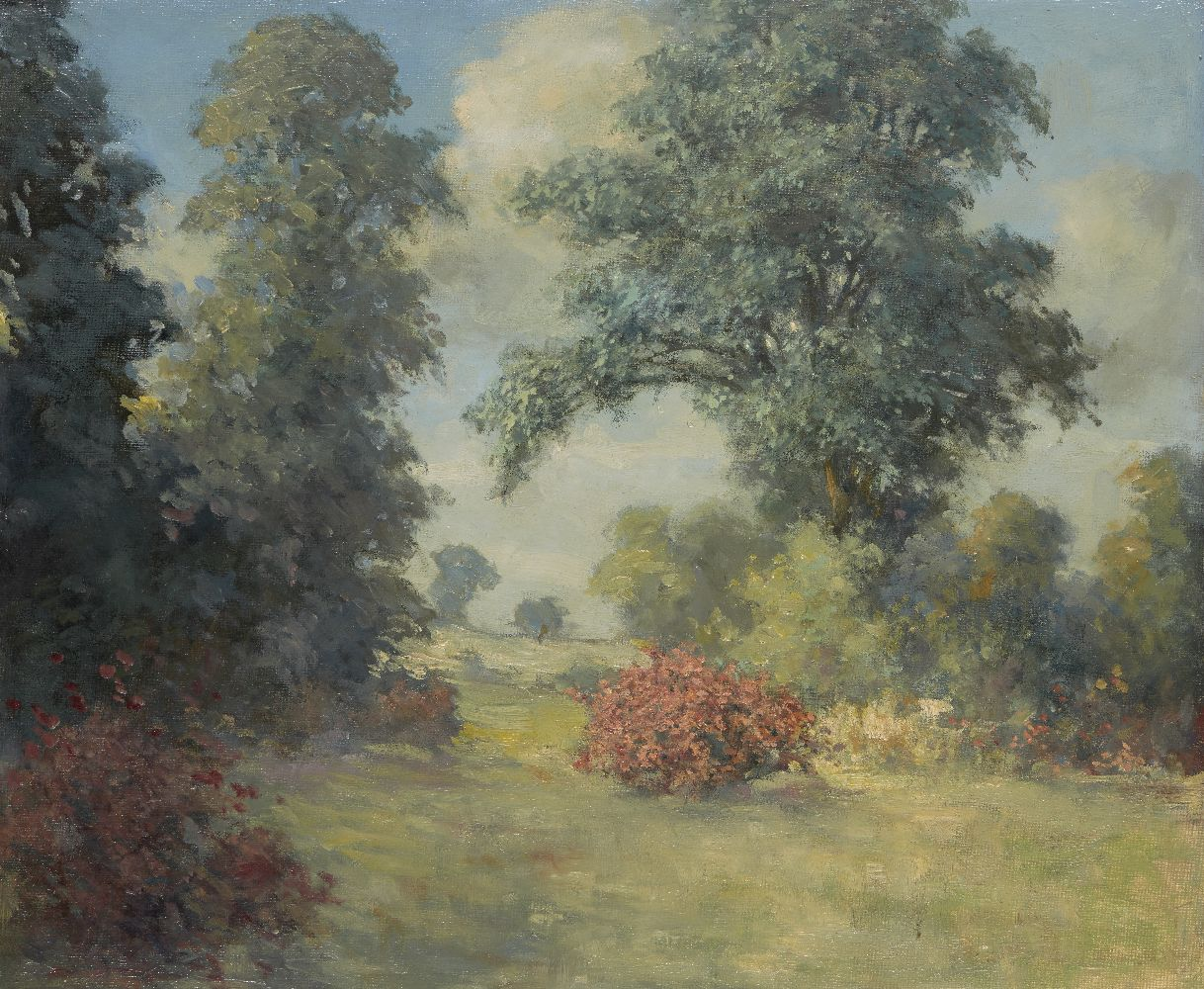 British School, mid-20th century- View of a garden; oil on board, 47x57cm: together with a gouache - Image 2 of 2