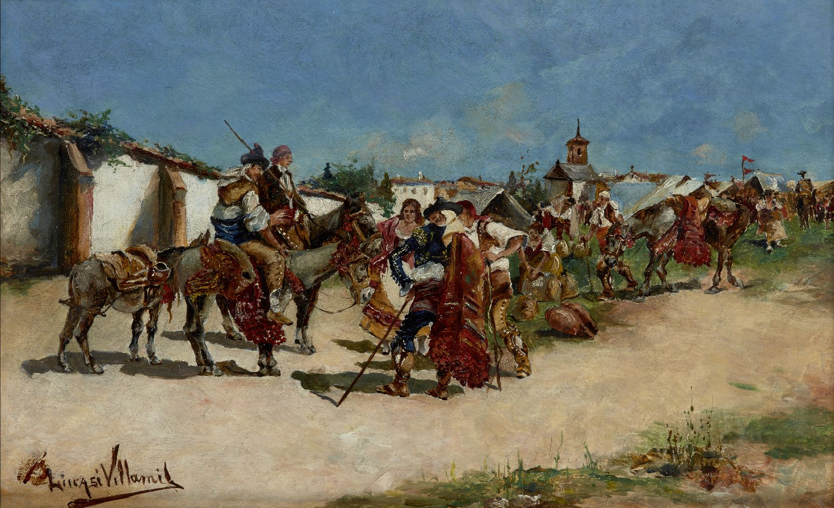 Eugenio Lucas Villamil, Spanish,1858-1918- People preparing for a festival outside a village; oil on