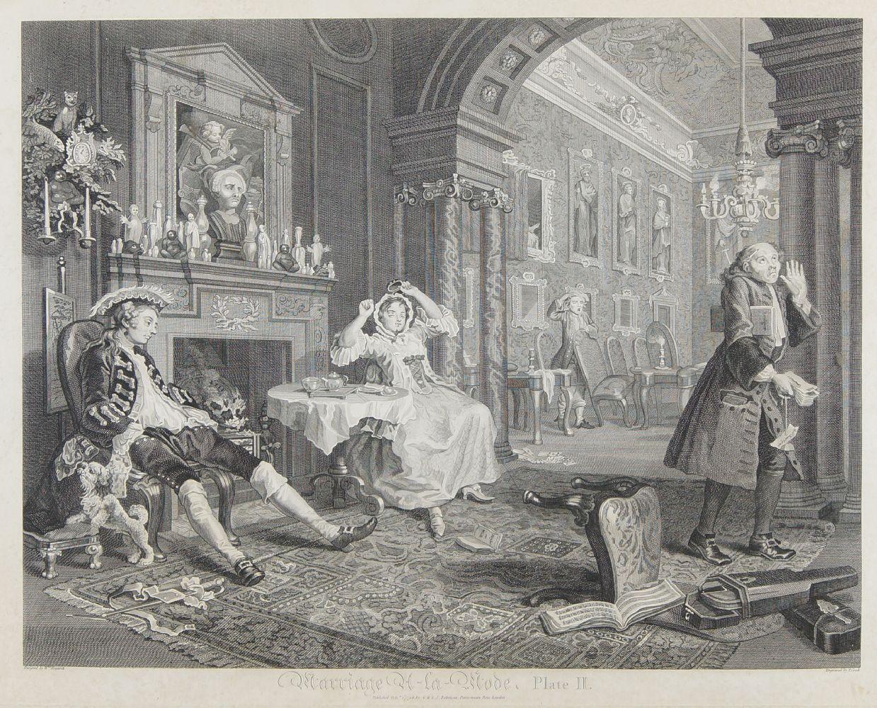 After William Hogarth FRSA, British 1697-1764- Marriage A-La-Mode series, Plates I - VI; copper - Image 2 of 6