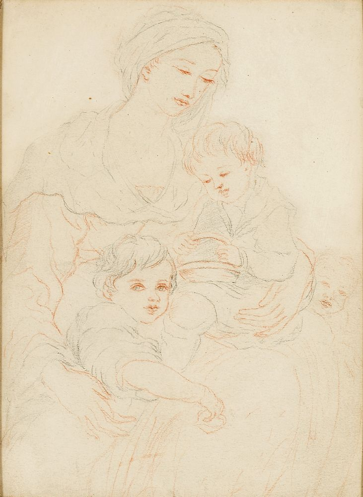 French School, mid-19th century- The Madonna and Child with the Infant Joseph; pencil and red