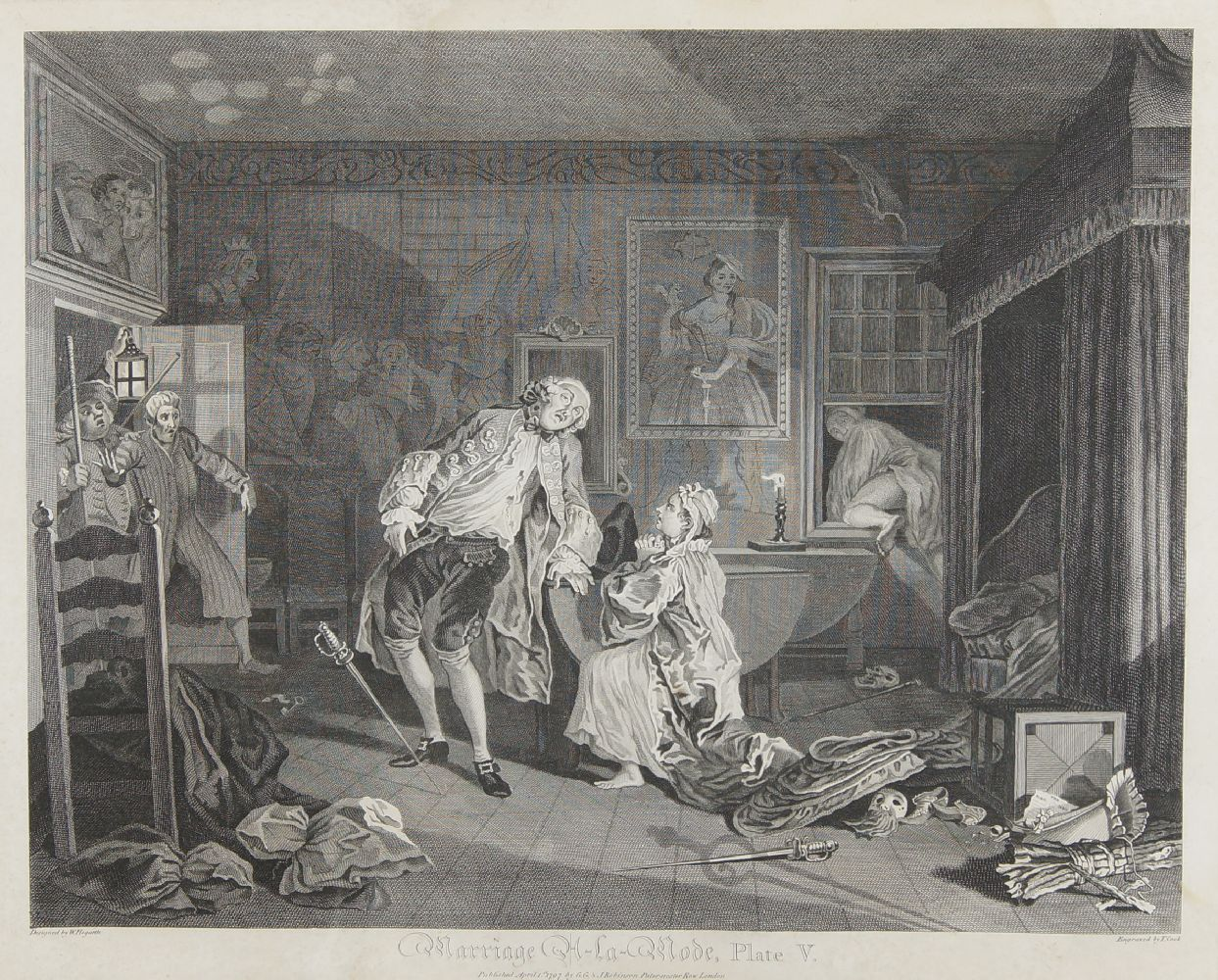 After William Hogarth FRSA, British 1697-1764- Marriage A-La-Mode series, Plates I - VI; copper - Image 3 of 6
