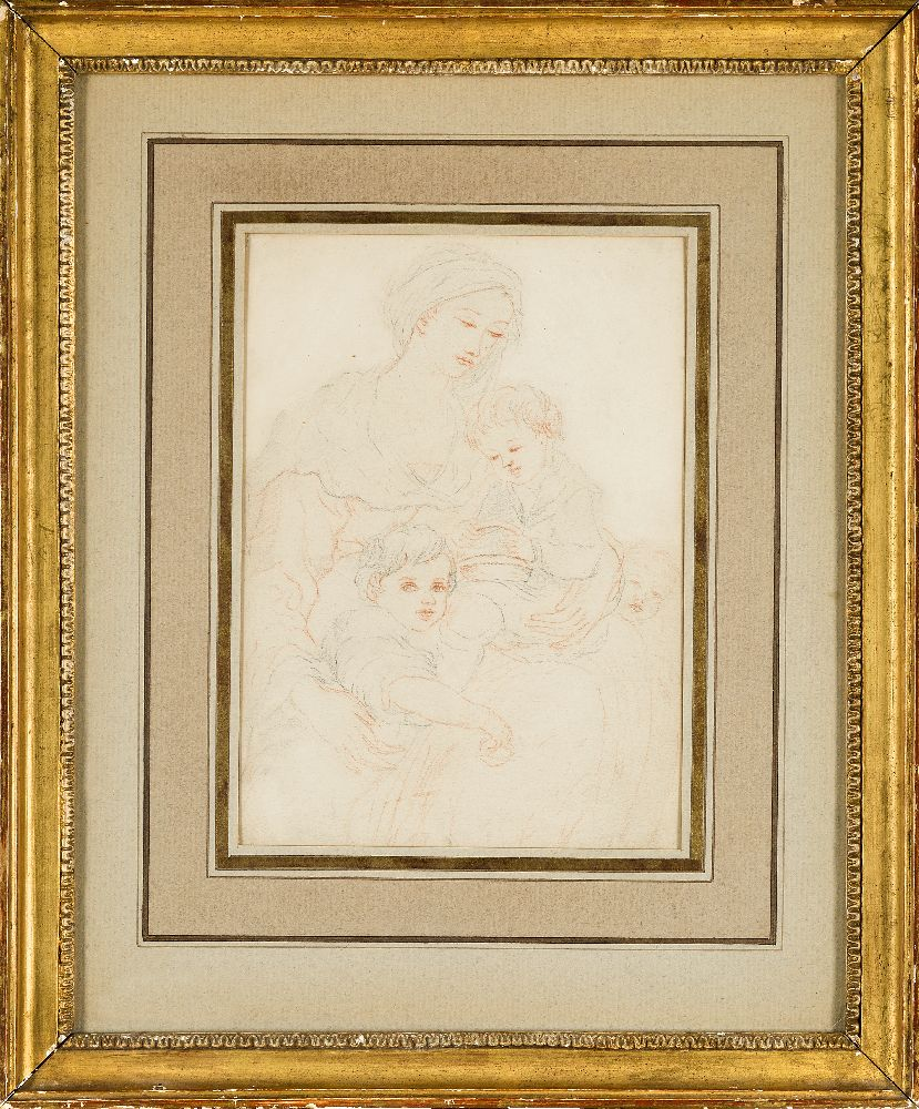 French School, mid-19th century- The Madonna and Child with the Infant Joseph; pencil and red - Image 2 of 7