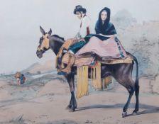 John Frederick Lewis RA, British 1804-1876- Spanish Couple riding a Mule and El Tempranillo; hand-