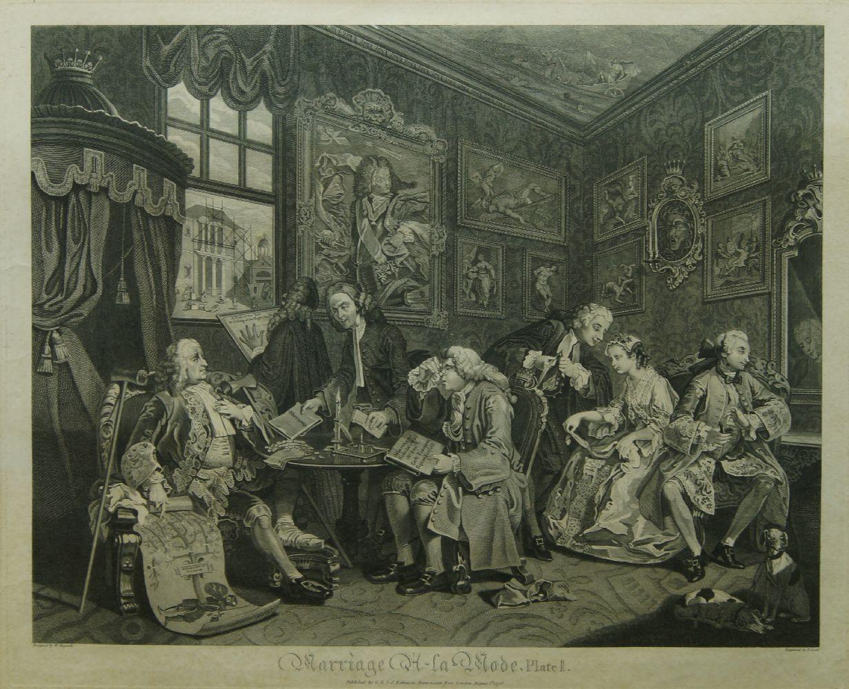 After William Hogarth FRSA, British 1697-1764- Marriage A-La-Mode series, Plates I - VI; copper - Image 6 of 6