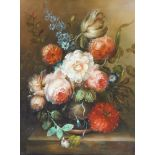 Style of Jan van Os, mid 20th century- Flowers on a ledge; oil on panel, 25.5x20cmPlease refer to
