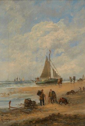 Edwina W Lara, British act. 1850-1882- Fishermen gathering nets on a beach; oil on canvas, signed,