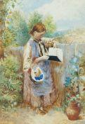 Follower of Myles Birket Foster RWS, British 1825-1899- A girl reading & Children by a stile;