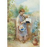 Follower of Myles Birket Foster RWS, British 1825-1899- A girl reading & Children by a stile;