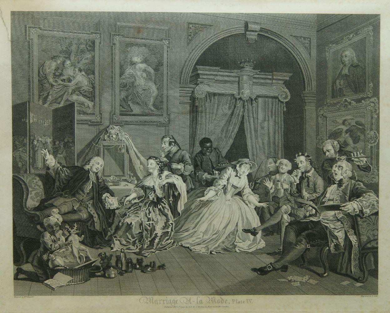 After William Hogarth FRSA, British 1697-1764- Marriage A-La-Mode series, Plates I - VI; copper - Image 5 of 6