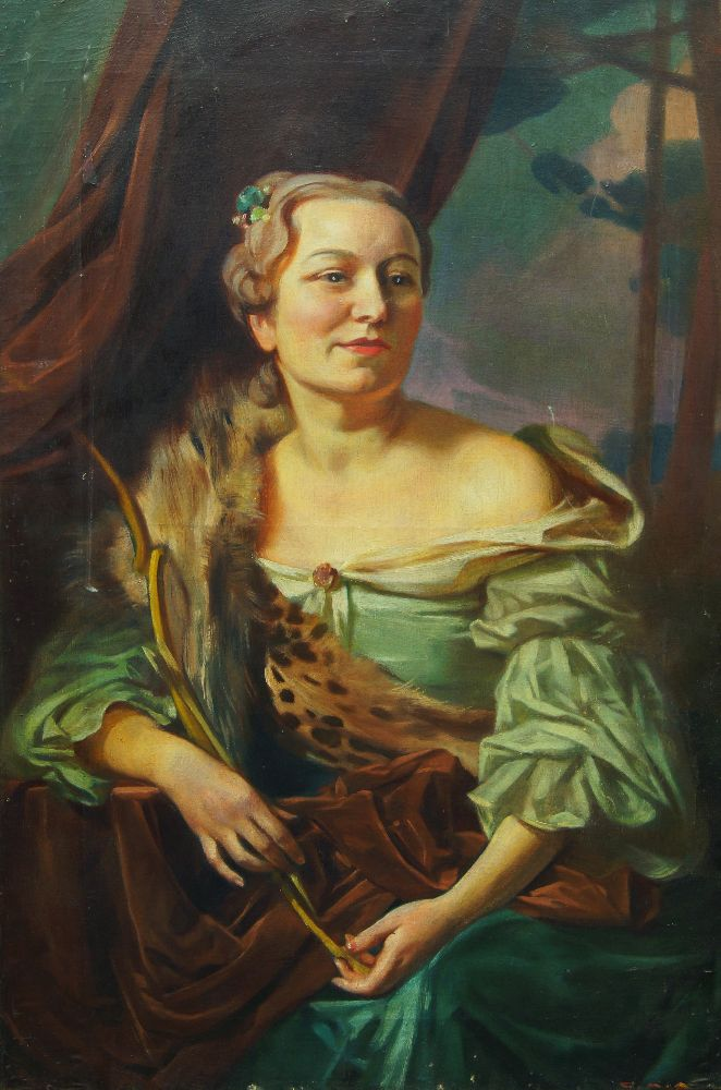 Giorgio Matteo Aicardi, Italian 1891-1984- Painting of the artist's wife in historical costume;
