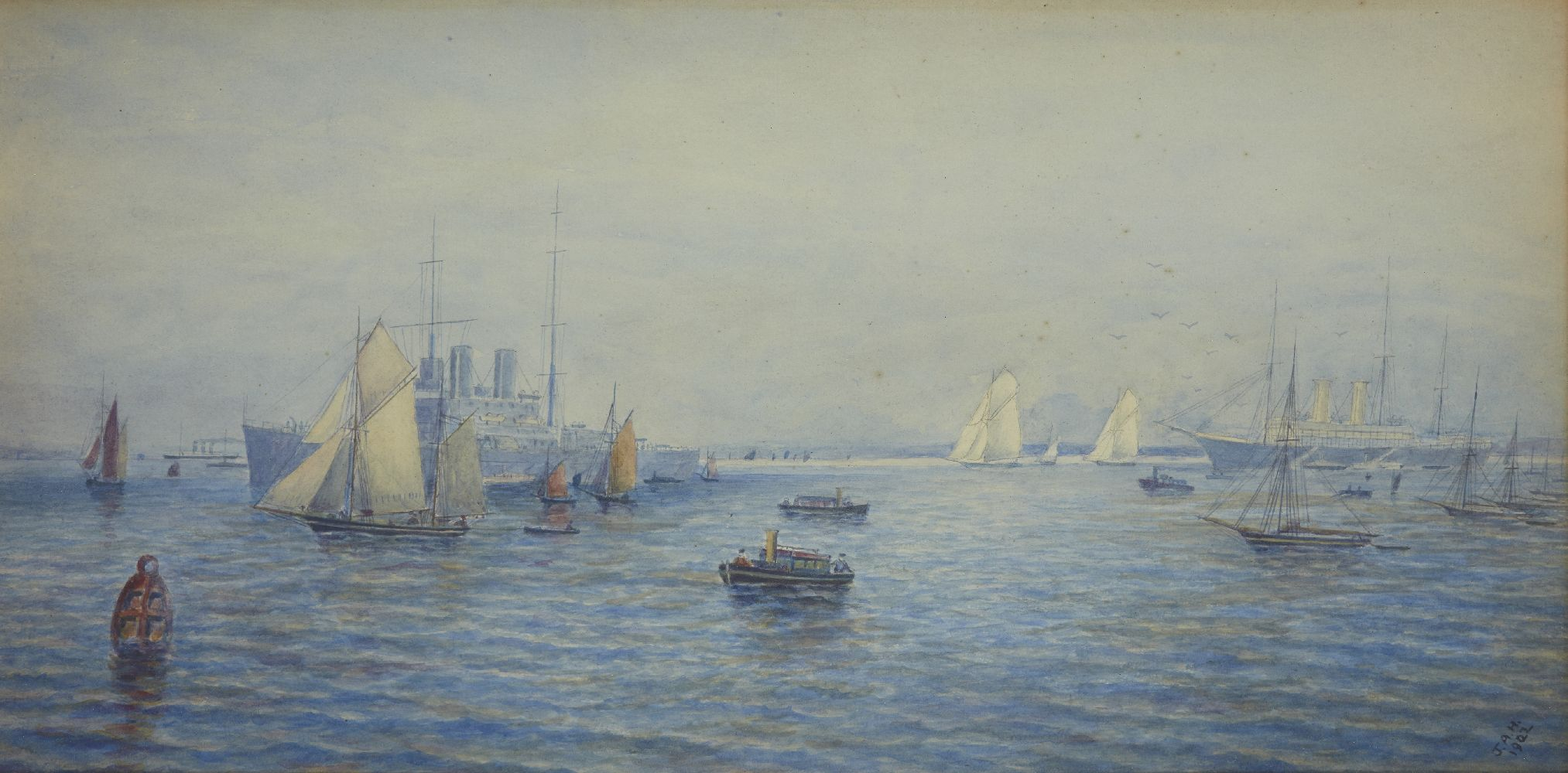 British School, early 20th century- Shipping Scene; watercolour, signed with initials J.A.H and