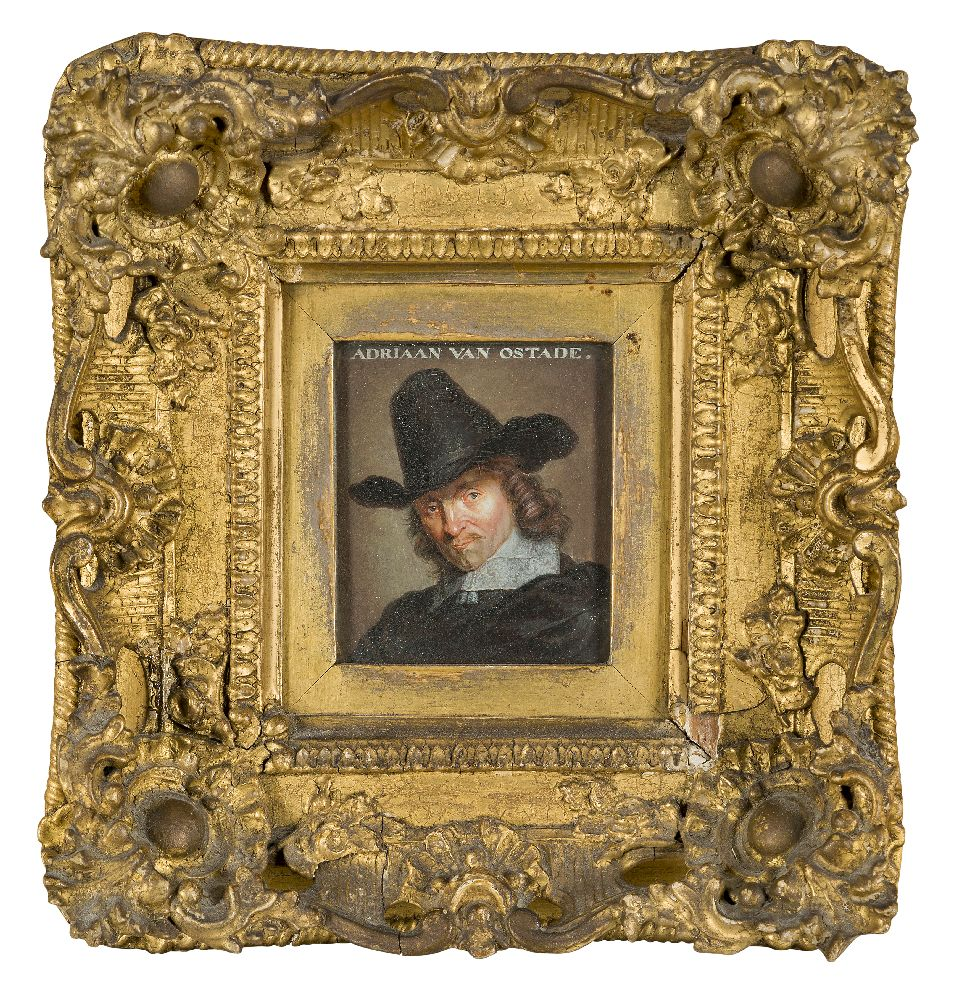 After Adriaen van Ostade, Dutch 1610-1685- Self-Portrait of the artist, after Jacob Gole; oil on - Image 2 of 6