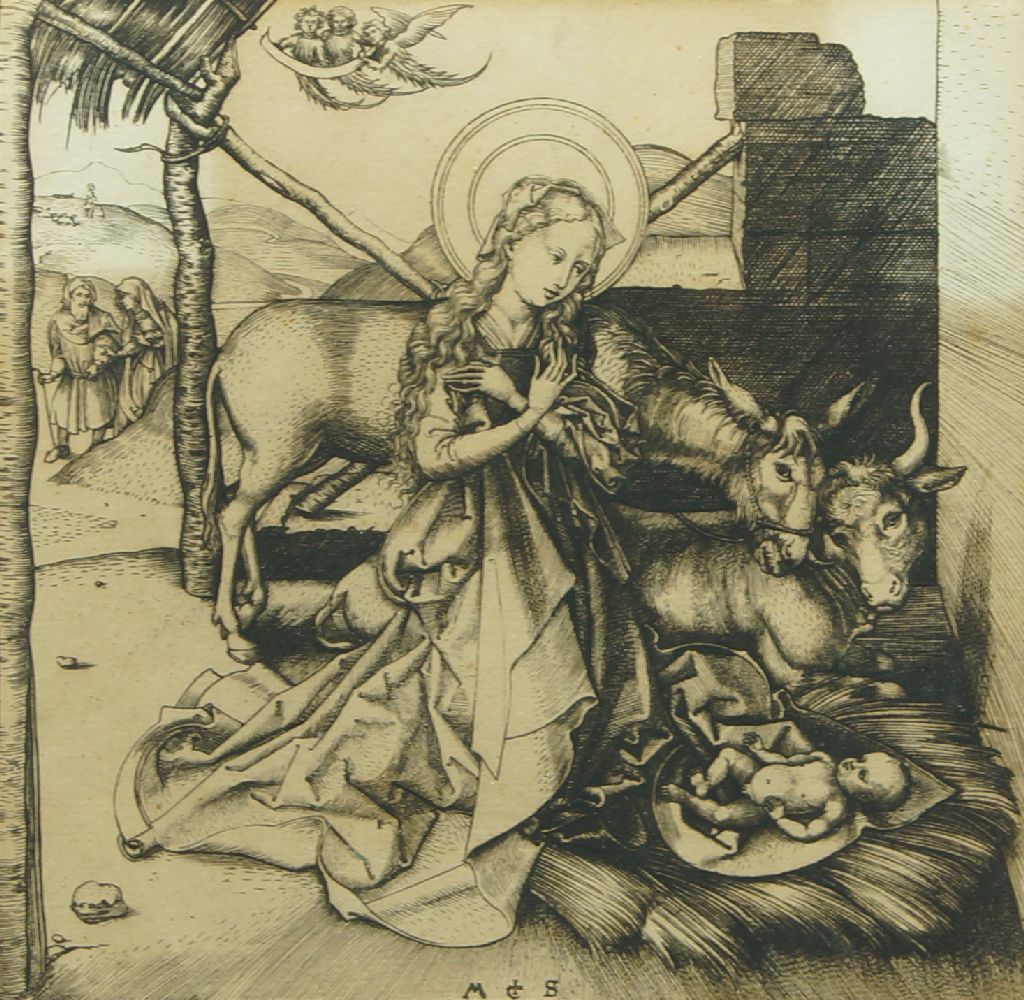 After Martin Schongauer, German c.1435-1491- The Nativity; engraving, signed within the plate, 16.