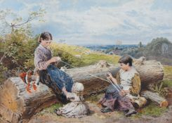 After Myles Birket Foster RWS, British 1825-1899- The Way down the Cliff, and Yarn;