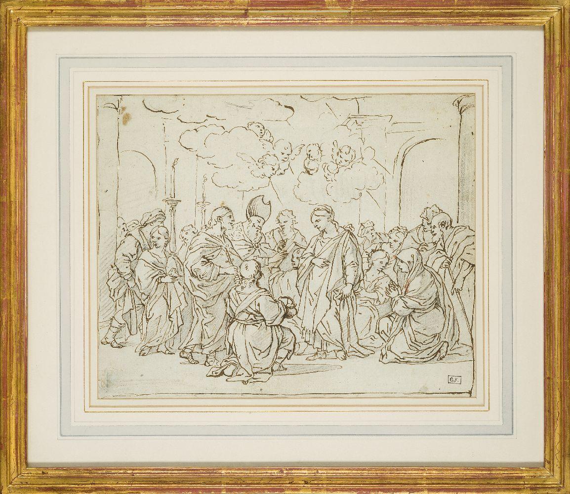 Attributed to Pietro da Cortona, Italian 1596-1669- The Presentation at the Temple; pen and brown - Image 2 of 3