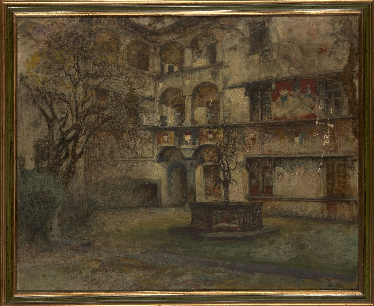 Vittorio Cavalleri, Italian 1860-1938- View of a courtyard; oil on canvas, signed and dated 08, - Image 2 of 3
