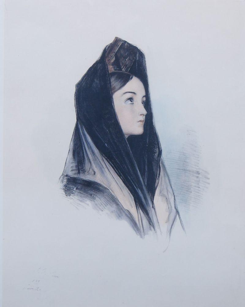 John Frederick Lewis RA, British 1804-1876- Head of a Spanish Girl in Mantilla, 1838; hand-