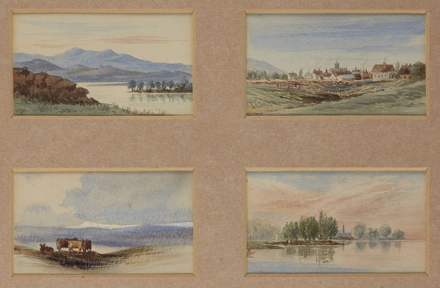 British School, early 20th century- River and estuary landscapes; watercolours, four in shared