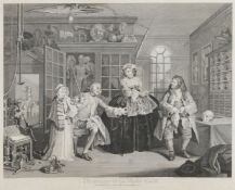 After William Hogarth FRSA, British 1697-1764- Marriage A-La-Mode series, Plates I - VI; copper