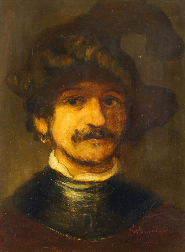 Manner of Rembrandt van Rijn, early-mid 20th century- Portrait of an old man in a cap, & Portrait of - Image 2 of 2