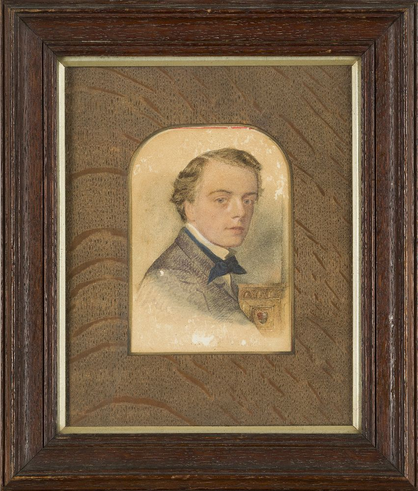 British School, mid-late 19th century- Portrait of a young man; watercolour, signed indistinctly, - Image 2 of 3