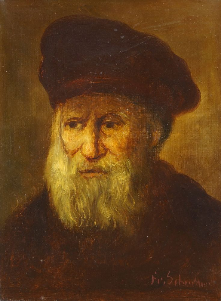Manner of Rembrandt van Rijn, early-mid 20th century- Portrait of an old man in a cap, & Portrait of