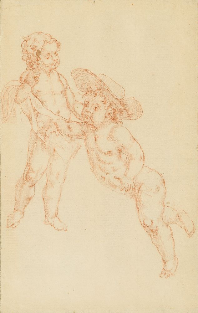 French School, mid-19th century- The Madonna and Child with the Infant Joseph; pencil and red - Image 6 of 7