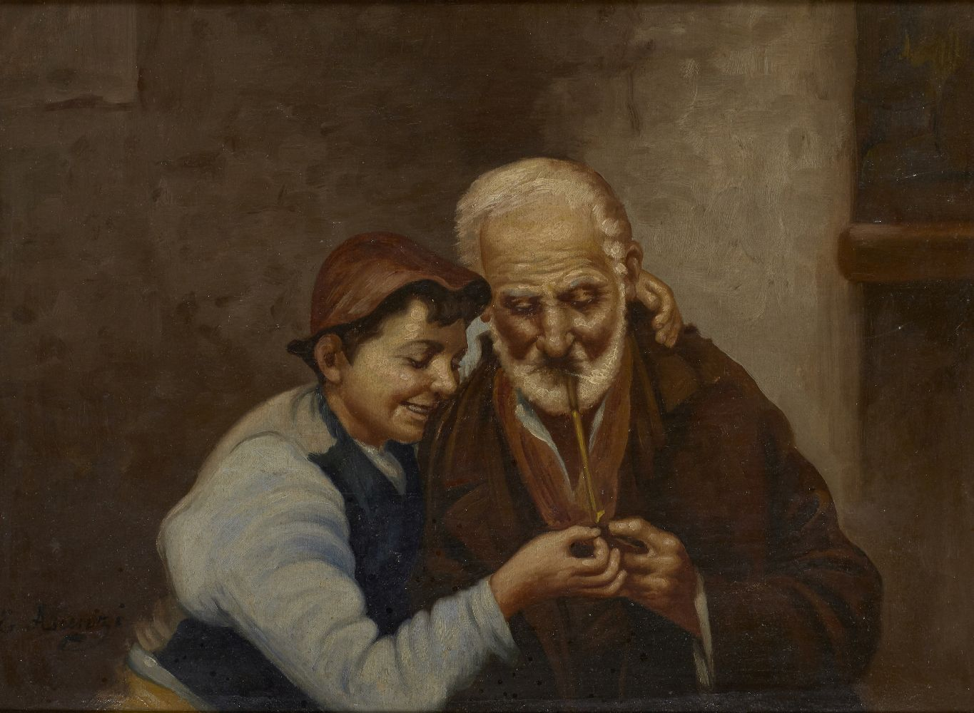 Ettore Ascenzi, Italian, mid-late 19th Century- Older man and young boy smoking a pipe and Two old - Image 2 of 2