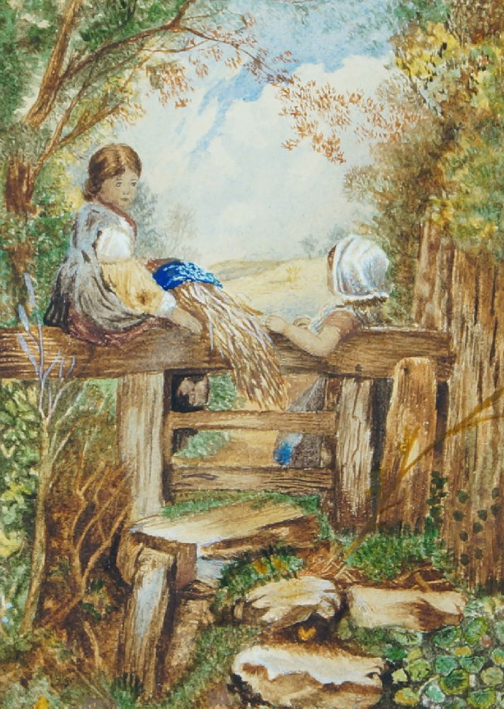 Follower of Myles Birket Foster RWS, British 1825-1899- A girl reading & Children by a stile; - Image 2 of 2