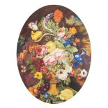 Julia Sant, mid-20th century- Flowers in an urn with a clouded sky beyond; oil on board, oval,