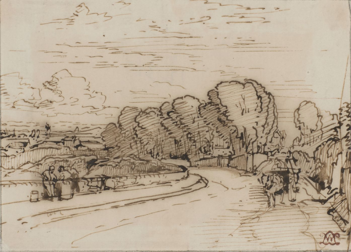 William Leighton Leitch, Scottish 1804-1883- View near Glasgow; pen and brown ink and wash, bears