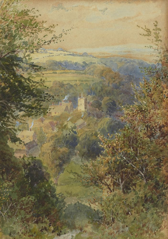 Howard Gaye, British 1848-1925- Woodland path; watercolour with touches of white, signed, 24x17cm; - Image 2 of 6