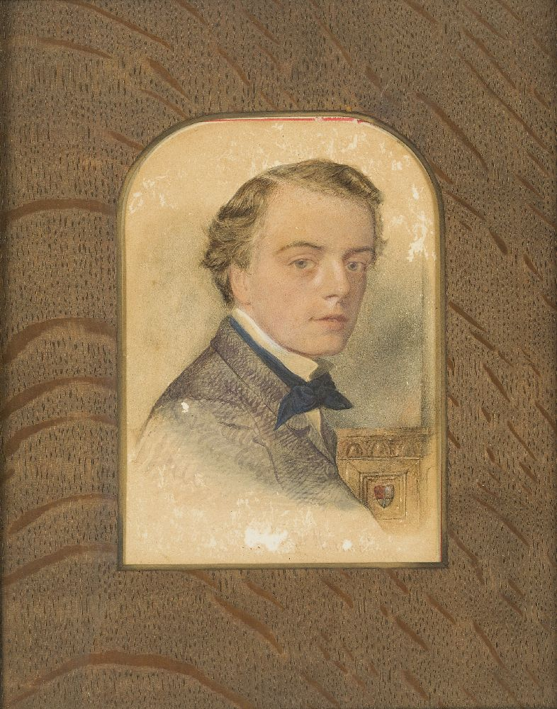 British School, mid-late 19th century- Portrait of a young man; watercolour, signed indistinctly,