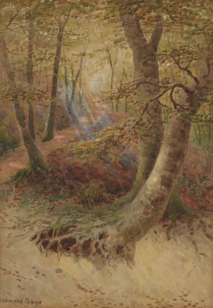 Howard Gaye, British 1848-1925- Woodland path; watercolour with touches of white, signed, 24x17cm; - Image 3 of 6