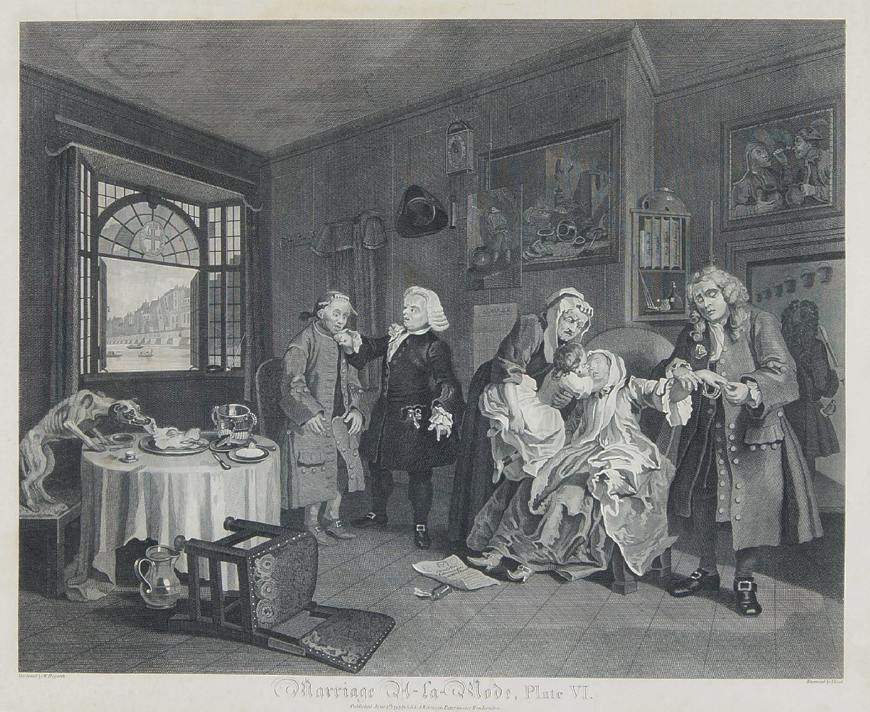 After William Hogarth FRSA, British 1697-1764- Marriage A-La-Mode series, Plates I - VI; copper - Image 4 of 6