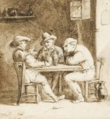 Manner of Adriaen Brouwer, late 17th/early18th century- Men seated at a table in a tavern; pen and