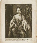 After Nicolaes Visscher Jnr, Dutch 1649-1702- Maria, D.G. Angliae, Scotiae, Franciae et Hiberniae