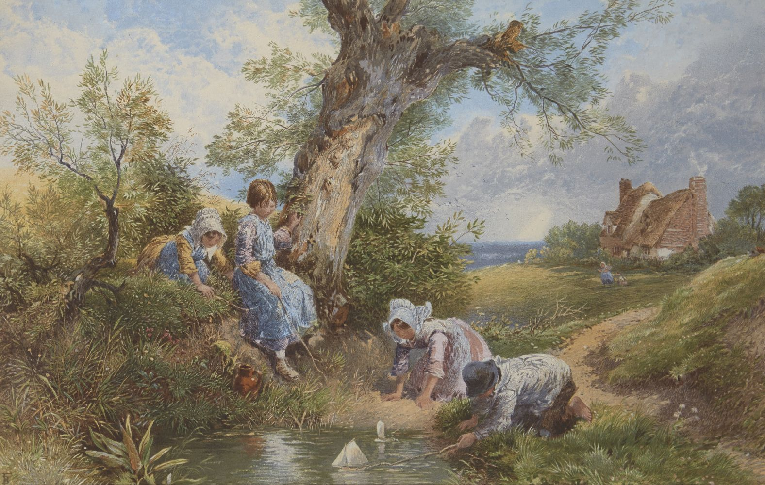 After Myles Birket Foster RWS, British 1825-1899- Children playing with a pond yacht; reproduction